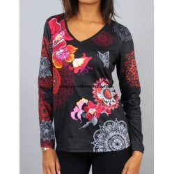 buy french T-shirt top winter floral ethnic 101 idées 0463W