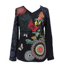 supplier fashion T-shirt top winter butterfly ethnic 101 idées 2104W
