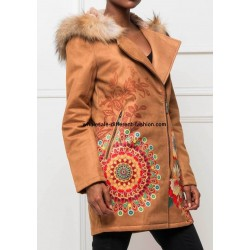 supplier fashion Long coat in suede hood with raccoon fur print