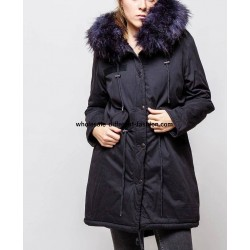 supplier fashion Parka Navy blue with hood and removable fur G20BL