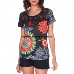 T-shirt top lace summer floral ethnic 101 idées 440Y french clothing