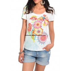 wholesale clothing top t-shirt plus size summer floral ethnic 101 idées