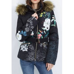 buy bulk new collection coat short quilted plus size print floral fur hood