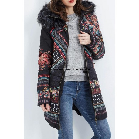 f0285d9dbe3 buy bulk new collection coat long quilted plus size floral print fur hood