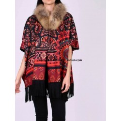 buy bulk ethnic printed poncho fringes and fur brand 101 idees 153P