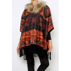 buy bulk ethnic printed poncho fringes and fur brand 101 idees 2112P