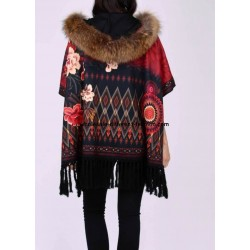 buy bulk ethnic printed poncho fringes and fur hood brand 101 idees 2110P