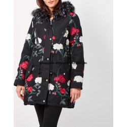 buy bulk Cotton coat with embroidered flowers fur hood brand 101 idees