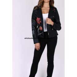 buy bulk jacket Faux leather perfecto print ethnic floral 101 IDEES 1942P